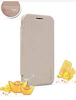 Кожаный чехол книжка Nillkin Sparkle для Samsung Galaxy J1 J100h золотистый