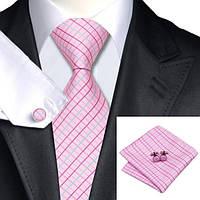 Галстук JASON&VOGUE розовый с фуксия и голубым в решеточку +запонки и платок 02216