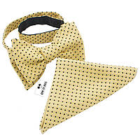 Галстук-бабочка Bow Tie House льняная в черно-белый горошек +платок 02256