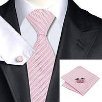 Галстук JASON&VOGUE подарочный розовый с люрексом  02444