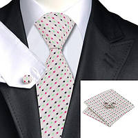 Подарочный JASON&VOGUE галстук салатовый с розовым 02462