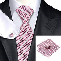 Подарочный JASON&VOGUE галстук в розовую полосочку с белым 02463