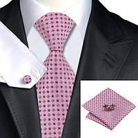 Подарочный JASON&VOGUE галстук розовый с серым 02612