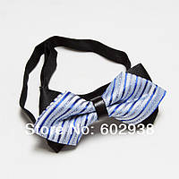 Голубая Bow Tie House бабочка с ремешком по середине и люрексмо 02663