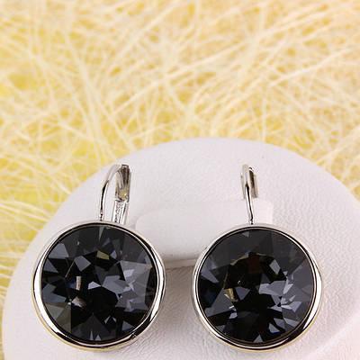 012-0048 - Серьги с кристаллом Swarovski Rose Black Diamond родий