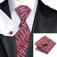 Галстук JASON&VOGUE красный с серым под кору дерева +платок с запонками 03631