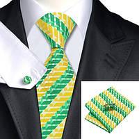 Подарочный JASON&VOGUE галстук зеленый с желтым в полоску 03639