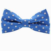 Бабочка Bow Tie House светло-синяя в белый горошек 03701
