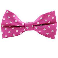 Бабочка Bow Tie House насыщенная розовая в белый горошек 03711