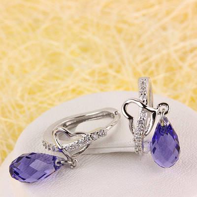 012-0053 - Серьги с кристаллом Swarovski Drop Crystal Violet и прозрачными фианитами родий