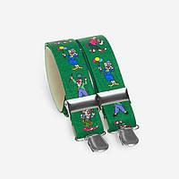 Подтяжки Bow Tie House детские зеленые с клоунами 03872