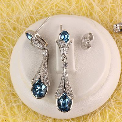 012-0055 - Серьги с кристаллами Swarovski Drop Crystal Aquamarine и прозрачными фианитами родий