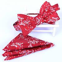 Галстук-бабочка Bow Tie House красная с оригинальным белым узором 04759