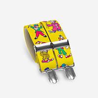 Подтяжки Bow Tie House детские желтые с яркими клоунами 05163