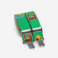 Подтяжки Bow Tie House детские зеленые с крабами 05161
