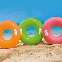 Круг надувной с ручками Intex 59258 76см 3 цвета, детский надувной круг для плавания, плавательный круг