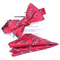 Галстук-бабочка Bow Tie House красная с идейным рисунком с платком 05323