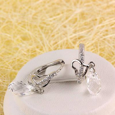 012-0060 - Серьги с кристаллом Swarovski Drop Crystal и прозрачными фианитами родий