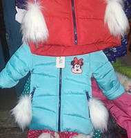 Модная зимняя детская куртка на овчине Гном