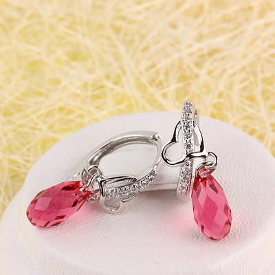 012-0061 - Серьги с кристаллом Swarovski Drop Crystal Rose и прозрачными фианитами родий