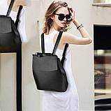 Рюкзак женский кожаный  с клапаном (бронзовый), фото 4