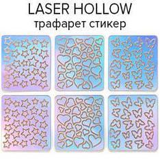 KATTI Наклейки стикер трафарет голограф Laser Hollow 6шт/лист 01