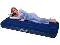Надувной ортопедический матрас Classic Downy Bed Intex 68950, матрас велюровый 1 спальный 193*76*22см