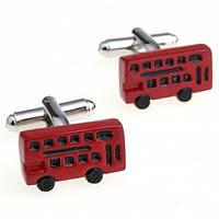 Запонки Bow Tie House - красный автобус 06793