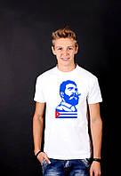 Белая футболка с принтом  FidelCastroПортрет  для мужчин и женщин