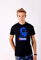 Черная футболка с принтом  FidelCastroПортрет   для мужчин и женщин