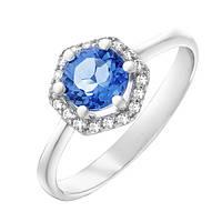 Серебряное кольцо Теодора с кварцем цвета танзанит и фианитами 000055346