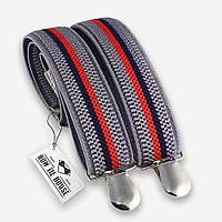 Подтяжки Bow Tie House серые в красно-синюю полоску 07249