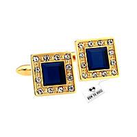 Запонки Bow Tie House изящные квадратные золотые с синим камнем 07463