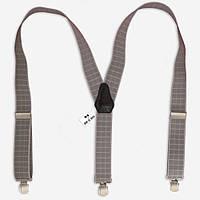 Подтяжки Bow Tie House галстучные серые в квадрат со светлой окантовкой 07494