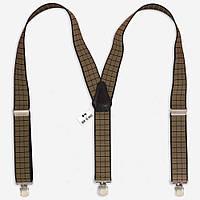 Подтяжки Bow Tie House галстучные коричневые в квадрат с черной окантовкой 07495