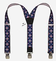 Подтяжки Bow Tie House синие с красным в оригинальный ромб 07758