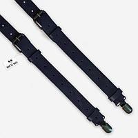 Подтяжки Bow Tie House кожаные темно-синие с пряжками антик Zaragoza 07772