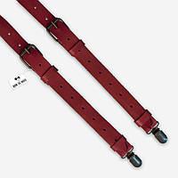 Подтяжки Bow Tie House кожаные ярко-коралловые со стильными застежками 07775