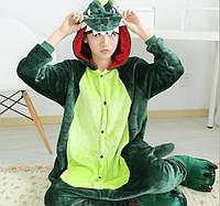 Пижама кигуруми женская и мужская Дракон зеленый