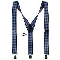 Подтяжки Bow Tie House мужские галстучные синие стильная клетка 08131