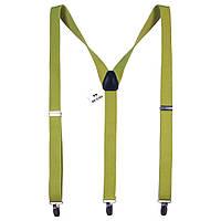 Подтяжки Bow Tie House яблочно-зеленого цвета с ворсом 2.5 см 08159