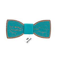 Бабочка Bow Tie House с эффектом трещин - бирюзовая с обводкой 08180
