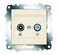 Розетка TV+SAT концевая Zena модуль крем  609-010300-290
