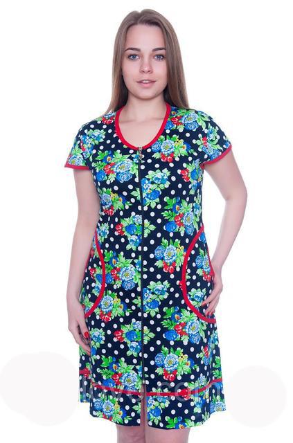 Женский летний халат синего цвета с цветами EKREM Wild Love