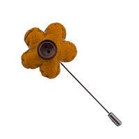 Приколка Bow Tie House на пиджак - желтый цветок - бежевая нить 08286