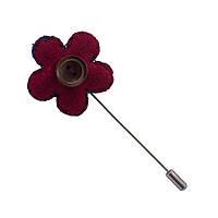 Приколка Bow Tie House на пиджак - красный цветок - синяя нить 08287
