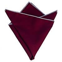 Платок Bow Tie House вишневый хлопковый плотный с белой окантовкой 08367