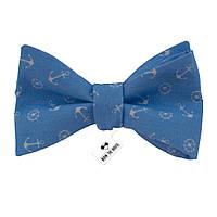Галстук-бабочка Bow Tie House хлопковая голубая с белыми якорями  08373