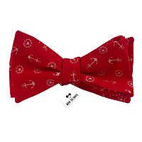Галстук-бабочка Bow Tie House хлопковая красная с белыми якорями  08374