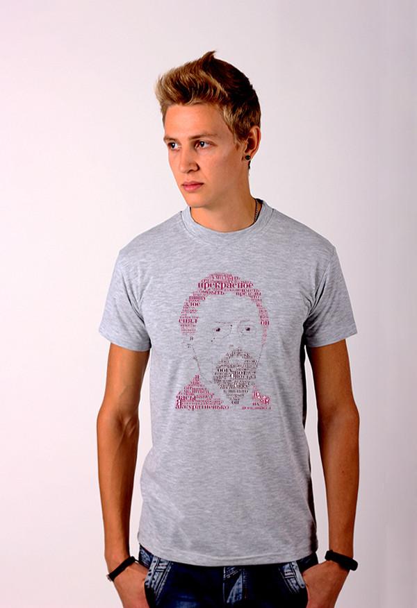ac73c85a6c5 Серая футболка с принтом Чехов для мужчин и женщин